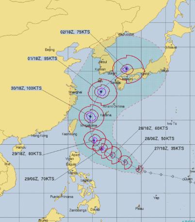 台風18号の2019年の米軍の予想