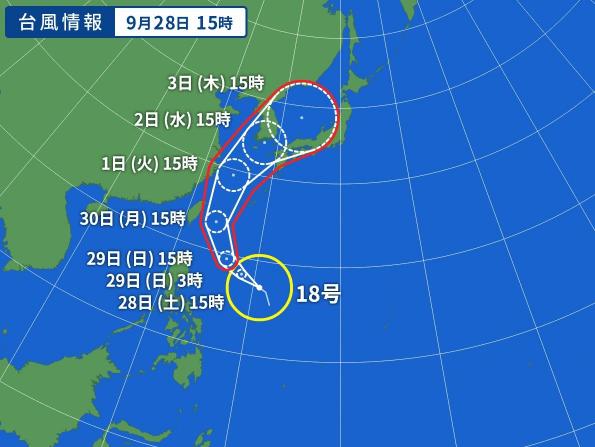 台風18合の進路図